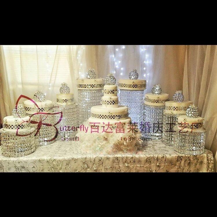 Gemotiveerd Sparkling Crystal Clear Garland Kroonluchter Ronde Wedding Cake Stand Wedding Party Decoraties Voor Tafel Top Centerpieces 9 Pcs
