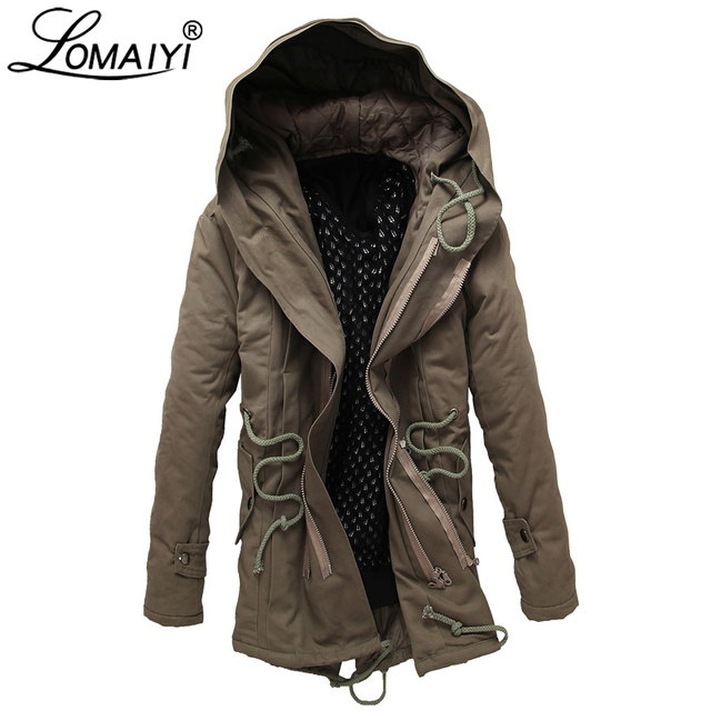 Special Offers LOMAIYI Plus Size 6XL Military Style Men's Winter Jacket With Rope Male Thick Padded Coat Long Parka Men Warm Windbreaker BM218