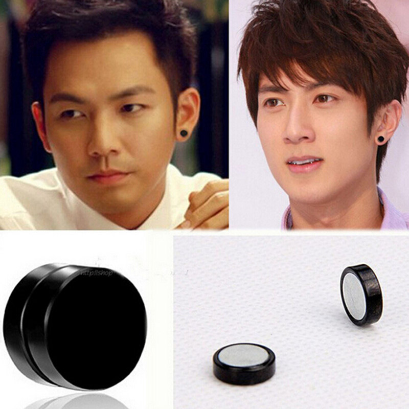 New 1pair Black Non Piercing Clip On Ear Round Stud Mens Women Fake Plugs 6 8 10 12mm Punk No Pierced Magnetic Earrings In From