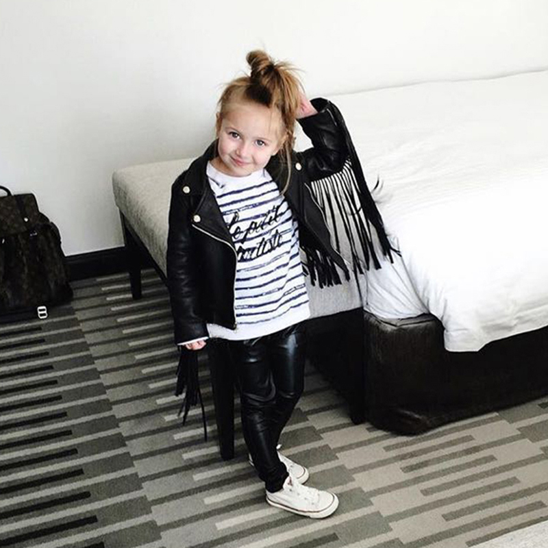 Ins Fashion Leather Jacket For Baby Girls PU Leather Jackets Tassel Children Outerwear Coat Winter Jacket For Girls Clothing