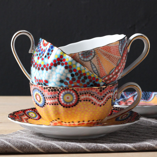 Boho Style Tea Cup and Saucer