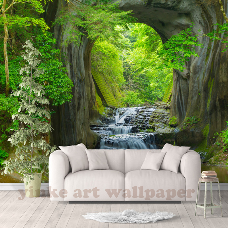 Custom 3d Fresh Rill Forest Wall Mural Photo Wallpaper