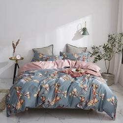 2019 Grey Brown Birds Leaves Flowers Bedlinens Egyptian Cotton Bedding Set Queen King Size Flat sheet Duvet Cover Set