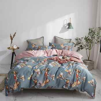 2019 Grey Brown Birds Leaves Flowers Bedlinens Egyptian Cotton Bedding Set Queen King Size Flat sheet Duvet Cover Set - DISCOUNT ITEM  50% OFF All Category