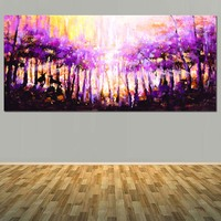 Modern Hand Painted Abstract Purple Forest Landscape Oil Painting Purple Forest Scenery Wall Picture Living Room Home Decor Art