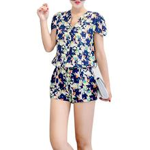 Sodial(R) Women Jumpsuit ePattern Short Sleeve Button Tunic Chiffon Romper Short Vintage Elastic Playsuit Shorts Overalls