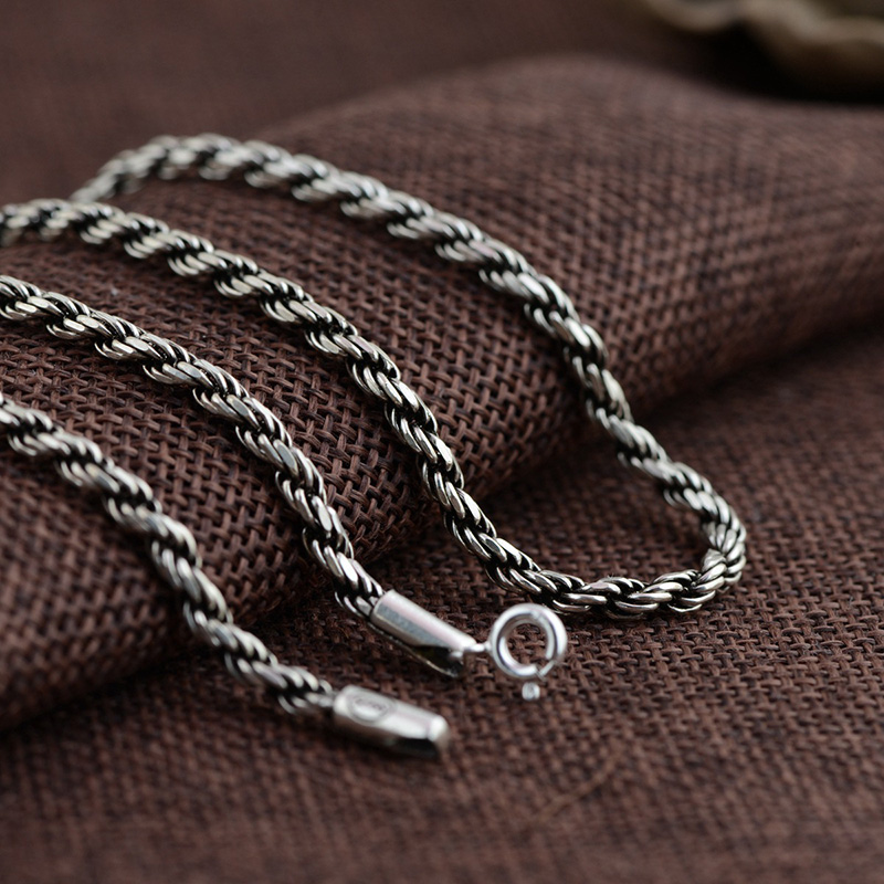 FNJ 3mm 925 Silver Rope Chain Necklaces for Women Men 45 81cm Long Sweater Necklace Thai