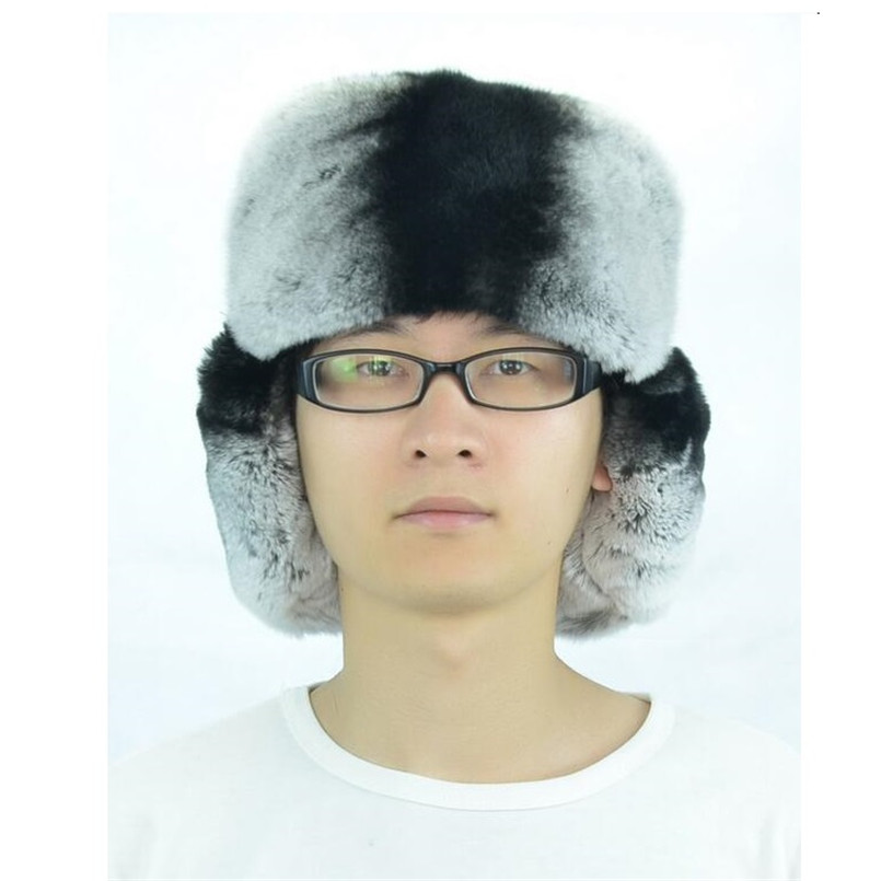 f82068c4f US $36.98 50% OFF|mens winter hats ear flaps russian real fur hat of  natural rex rabbit fur chinchilla genuine leather bomber hat H208-in Men's  Bomber ...