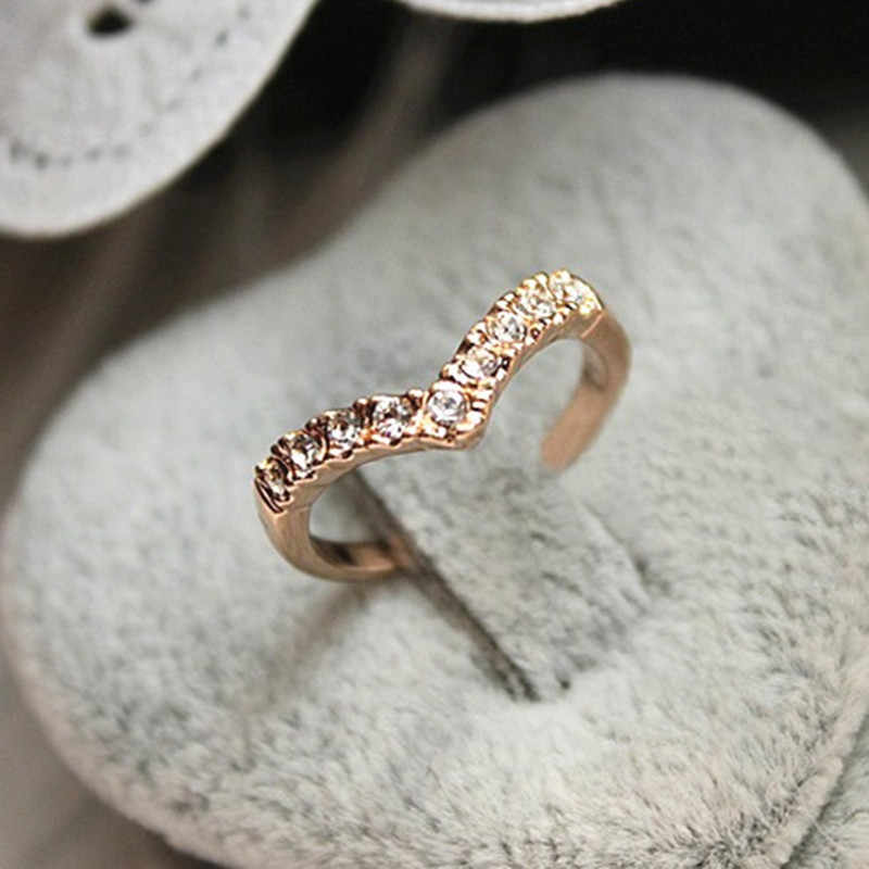خاتم زفاف أنيق بلون ذهبي محب مصنوع من الكريستال النمساوي الأصلي خواتم الحب بالجملة