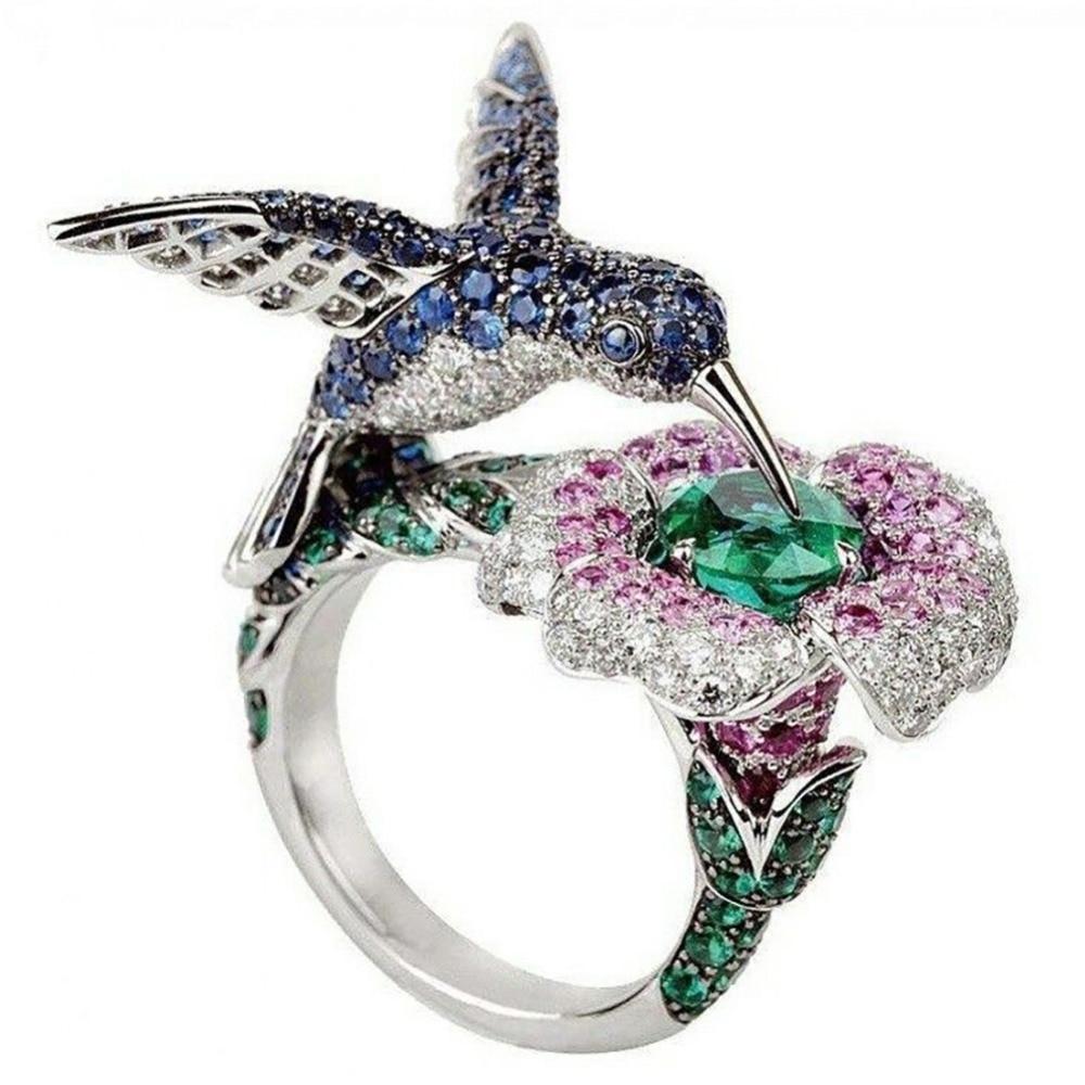 Fashion Women's  Silver Plated Crystal Rhinestones Bird Flower Ring Wedding Engagement Jewelry Gift #267974