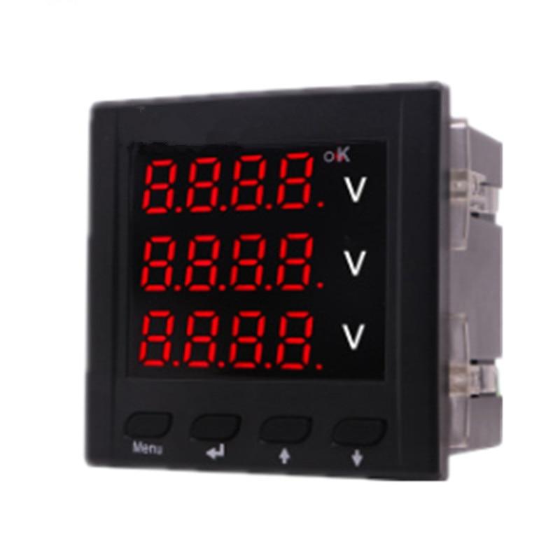 0 500V High Precision Intelligent Digital Panel Three Phase Voltmeter AC 220V Voltage Meter Volt Power Monitor Tester Gause