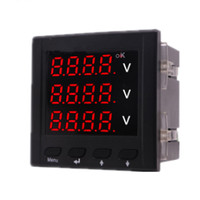 0 500V High Precision Intelligent Digital Panel Three Phase Voltmeter AC 220V Voltage Meter Volt Power Monitor Tester Gause