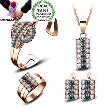 OMHXZJ Wholesale Personality Fashion OL Woman Zircon 18KT Shallow Yellow Stud Earrings+Ring+Necklace+Bracelet Jewelry Set SE27