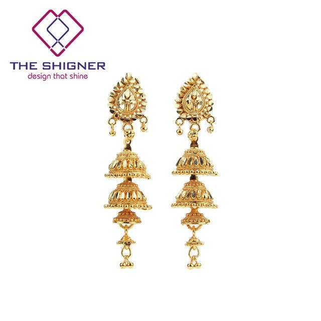The Shigner Ethnic Indian Golden 4 Floor Birdcage Jhumka Jhumki Earring India Clic Tribal Traditional Dangle
