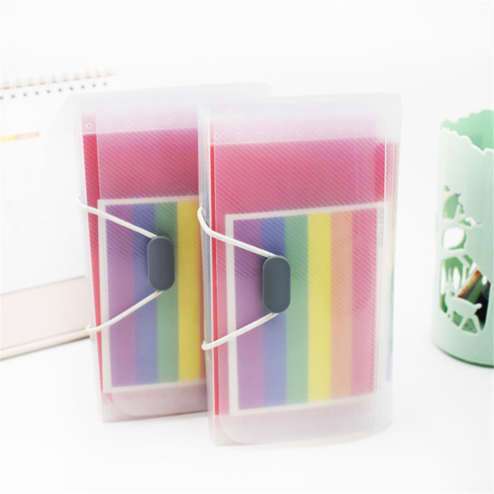 A6 & 13-pocket Document Bag Portable Rainbow Color Accordion Expending File Folder With File Guide & Label Cards Office Supplies