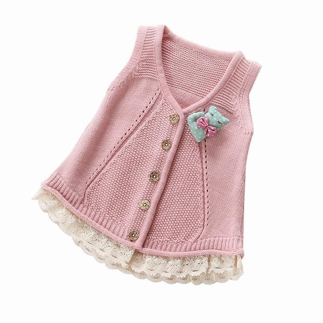 90455bc1b384 2018 Spring Fall Little Girls Cotton Vest Woollen Sweater Cardigan ...