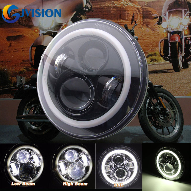 7 Inch Motorcycle Projector Led Headlight Hi/Lo Beam Halo Ring For Harley Touring Ultra Classic Electra Street Glide Fat Boy