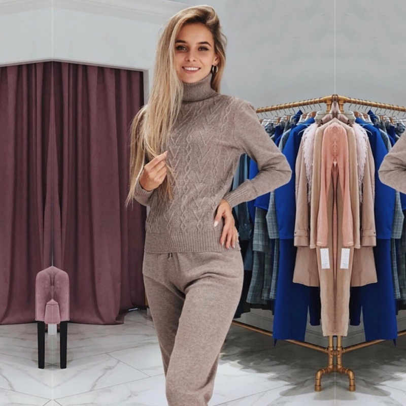 Women sweater suits Warm Soft Knitted tracksuit Autumn winter turtleneck pullovers + long pants for female knitted customs sets
