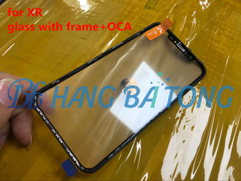 5pcs Original 3 in 1 Front cold press Outer Glass with Middle Frame Bezel Assembled+OCA film For iphone X 10 XR 6.1''