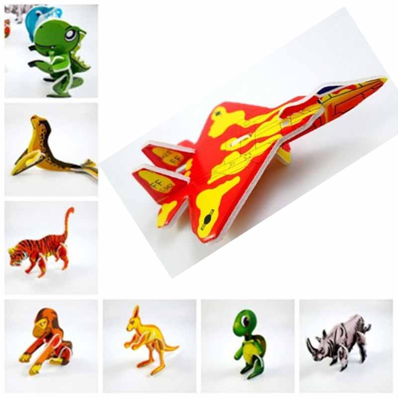 1Pc 3D Puzzle Jigsaw Toys Aircraft Fighter Car Animal Construct Educational Toys