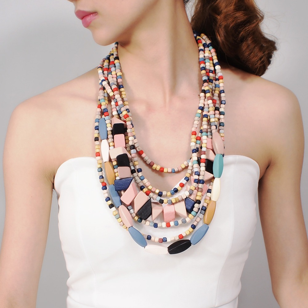 MANILAI Boho Multicolor Woods Necklaces For Women Long Wooden Beads Pendant Statement Necklace Beaded Ethnic Jewelry Handmade