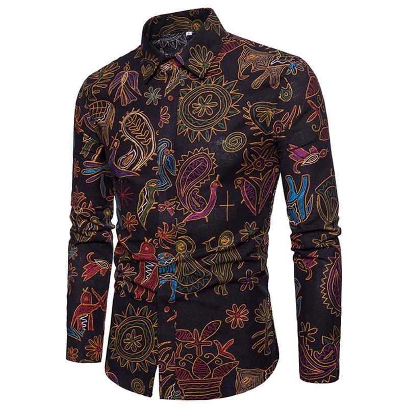 Fashion Spring Autumn Casual Men Shirt Slim Fit Flower Print Linen Shirt Long-sleeved Shirts Male Floral Social Masculina M-5XL Рубашка