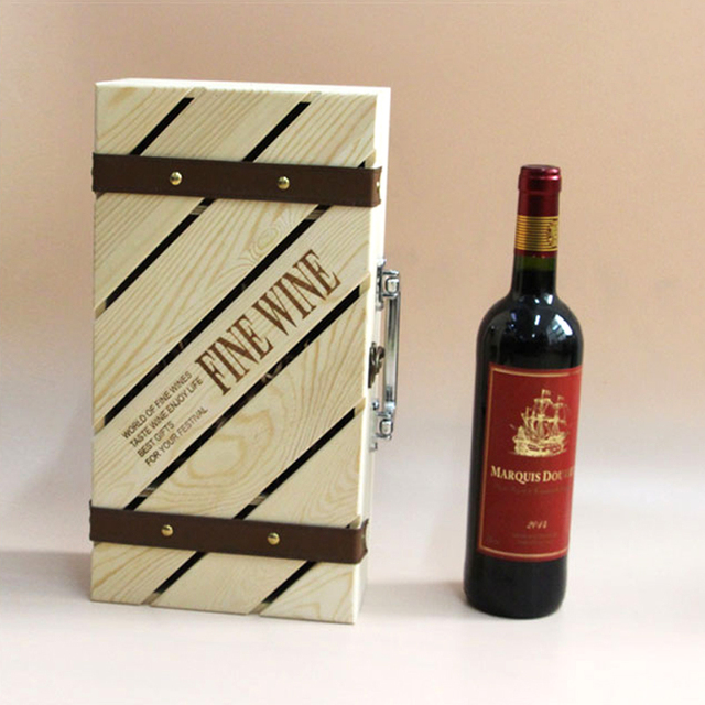 New Wine Wooden Wine Gift Box Wine Gift Box Pine Paulownia Double Vessel Cheap Oem Hotel Family Restaurant Exhibition Jh239 In Bar Sets From Home