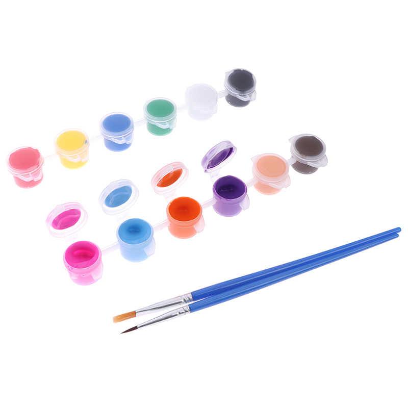 12 Warna Kain Tangan Dicat Dinding Plester Lukisan Menggambar untuk Anak-anak Cat Akrilik Waterbrush Pigmen Set untuk Pakaian Tekstil