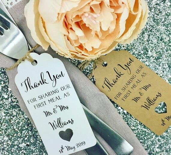 Gepersonaliseerde Eerste Maaltijd bruiloft welkom dank u Gift Tags baby douche Gast gunsten Labels boeking Kaarten
