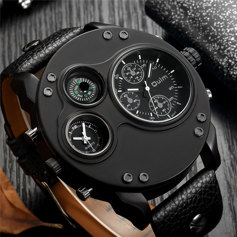 Oulm Fashion Men's Watches Black Leather Dual Time Zone Wristwatch Male Quartz Big Size Luxury Military Watch Dropshipping