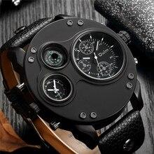 Oulm Модные мужские часы черный кожаный Dual Time Zone наручные мужской кварцевые Большой размеры Роскошные Военная Униформа дропшиппинг