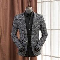 Woolen Blazer For Men Slim Fashion Spring Men'S Wool Blazer Male Casual Suit Jacket Warm 4 Colors Business Coat A5115