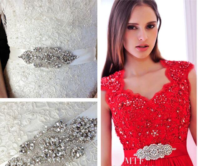 Recommend!Brief Brilliant CZ Diamond Pearl Decorated Wedding Belt/Bridal Belt/Formal Dress Belt 1001