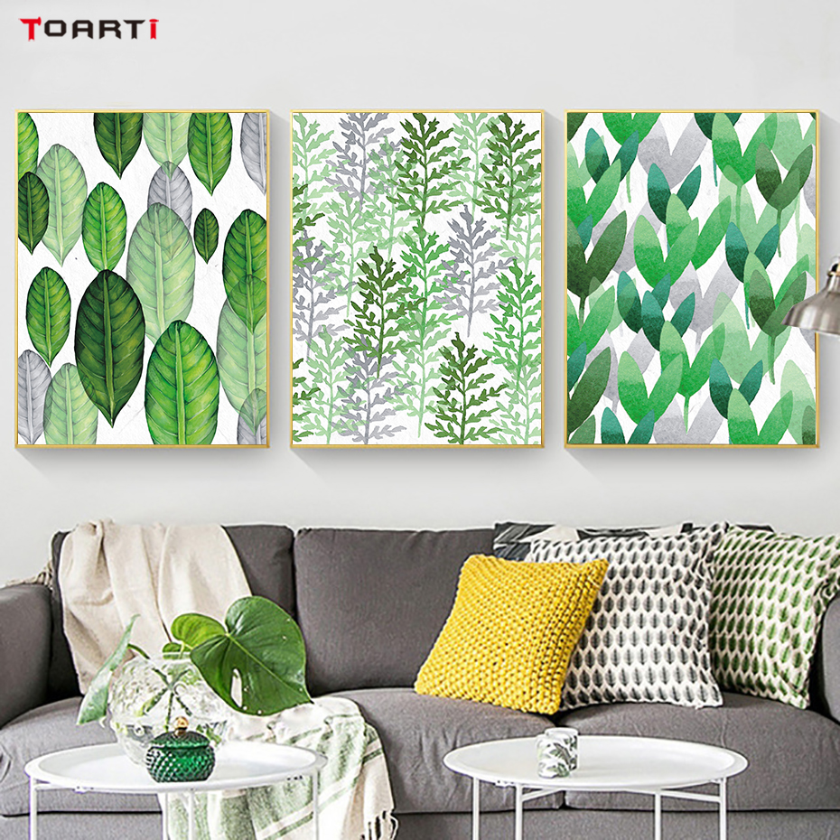 Tropical Plant Leaves Canvas Art Painting (4)