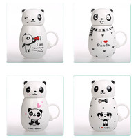 350ML Newest lovely cartoon Kungfu panda mug ceramic cup with Lid milk/coffee mug Christmas gift Thermal water bottle