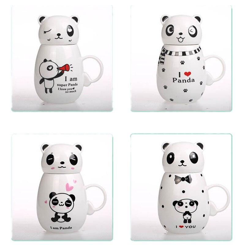 350ML Newest lovely cartoon Kungfu panda mug ceramic cup with Lid milk/coffee mug Christmas gift Thermal water bottle
