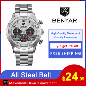 Image 2 - Relojes 2018 BENYAR Watch Men Fashion Sport Quartz Mens Watches Top Brand Luxury Business Waterproof Watch Relogio Masculino