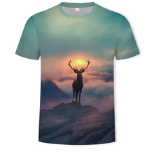 2019 3D Printing Landscape Painting Round Collar Short Sleeve T-shirt Summer sunrise elk pattern streetwear