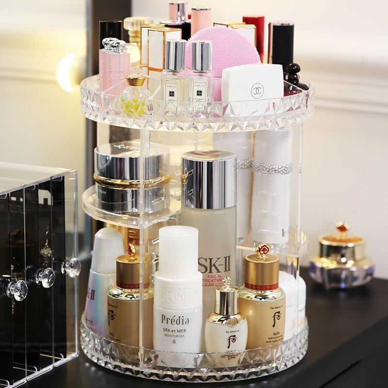 HTB1hLeLX.vrK1RjSszfq6xJNVXah - Rotating Crystal Cosmetic Storage Box 360 Degree Rotation Transparent Acrylic Cosmetics Storage Box