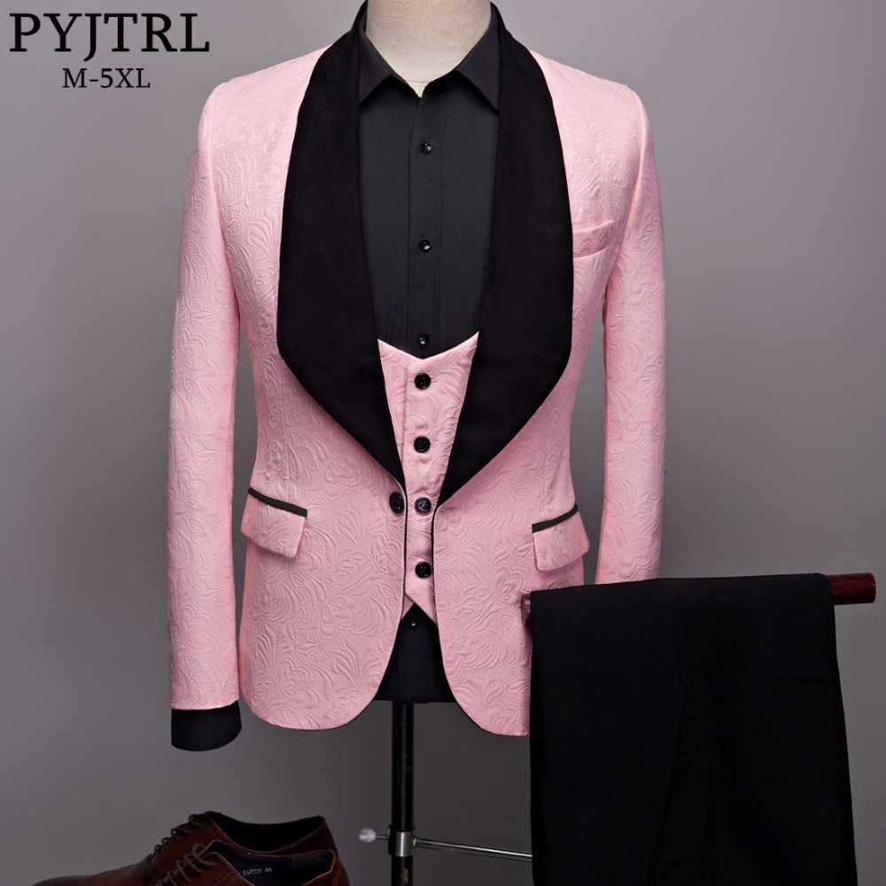 PYJTRL Mens Fashion Big Shawl Lapel 3 Pieces Set Pink Red Blue White Black Wedding Groom Suits Quality Jacquard Banquet Tuxedo