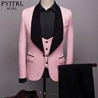 PYJTRL Mens Fashion Big Shawl Lapel 3 Pieces Set Pink Red Blue White Black Wedding Groom Suits Quality Jacquard Banquet Tuxedo