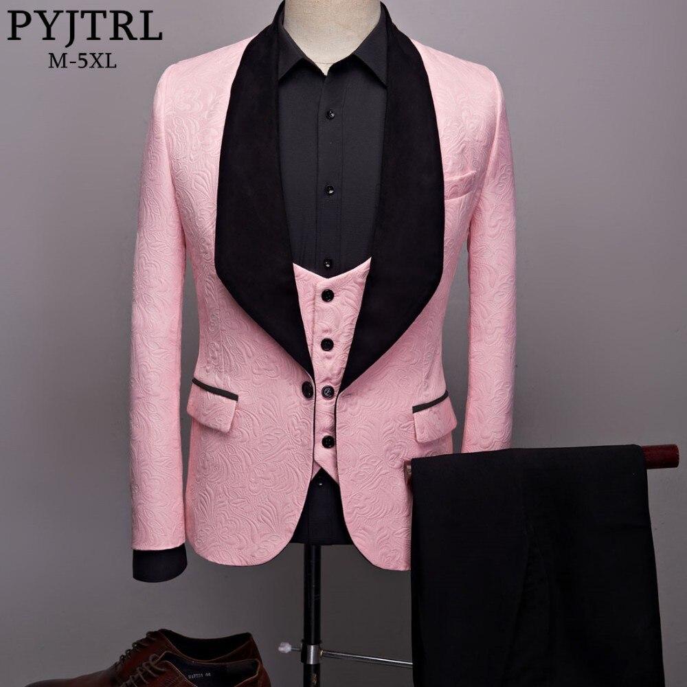 PYJTRL Mens di Modo Grande Scialle Risvolto 3 pezzi Set Rosa Rosso Blu Bianco Nero Da Sposa Abiti Sposo Qualità Jacquard Banchetto smoking