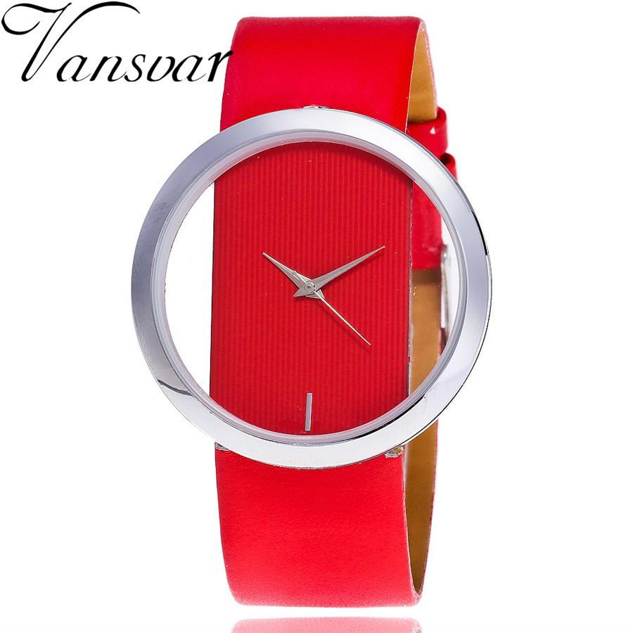 Vansvar Brand Luxury Fashion Casual Quartz Unique Stylish Hollow Skeleton Watch Leather Sport Ladies Wristwatches Drop Shipping original xiaomi mijia roller pen white
