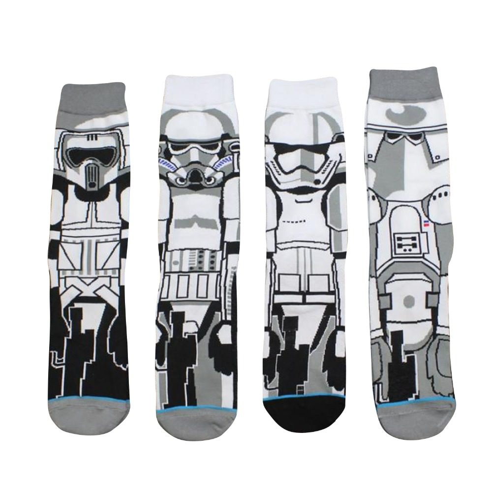 2018 New Arrival Star Wars Patterns Casual Socks All cotton cartoon mens socks Film white Samurai anime robot socks sox