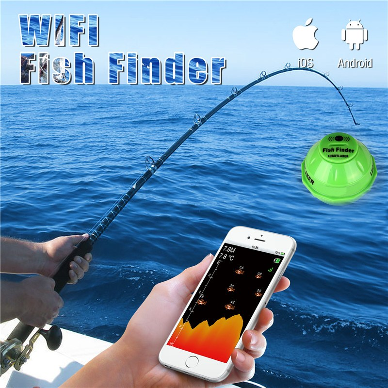 Lucky FF916 Wifi Wireless Fish Finder 45M/135ft Depth Sea Fish Location Detector Sonar Sounder Fishfinder Android IOS Compatible portable bluetooth fish finder sea fish detect device for ios for android 25m 80ft sonar fishfinder wireless fishing detector