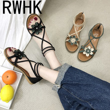 RWHK Flower sandals female flat shoes fairy wind 2019 summer new cross straps students wild Roman women B199