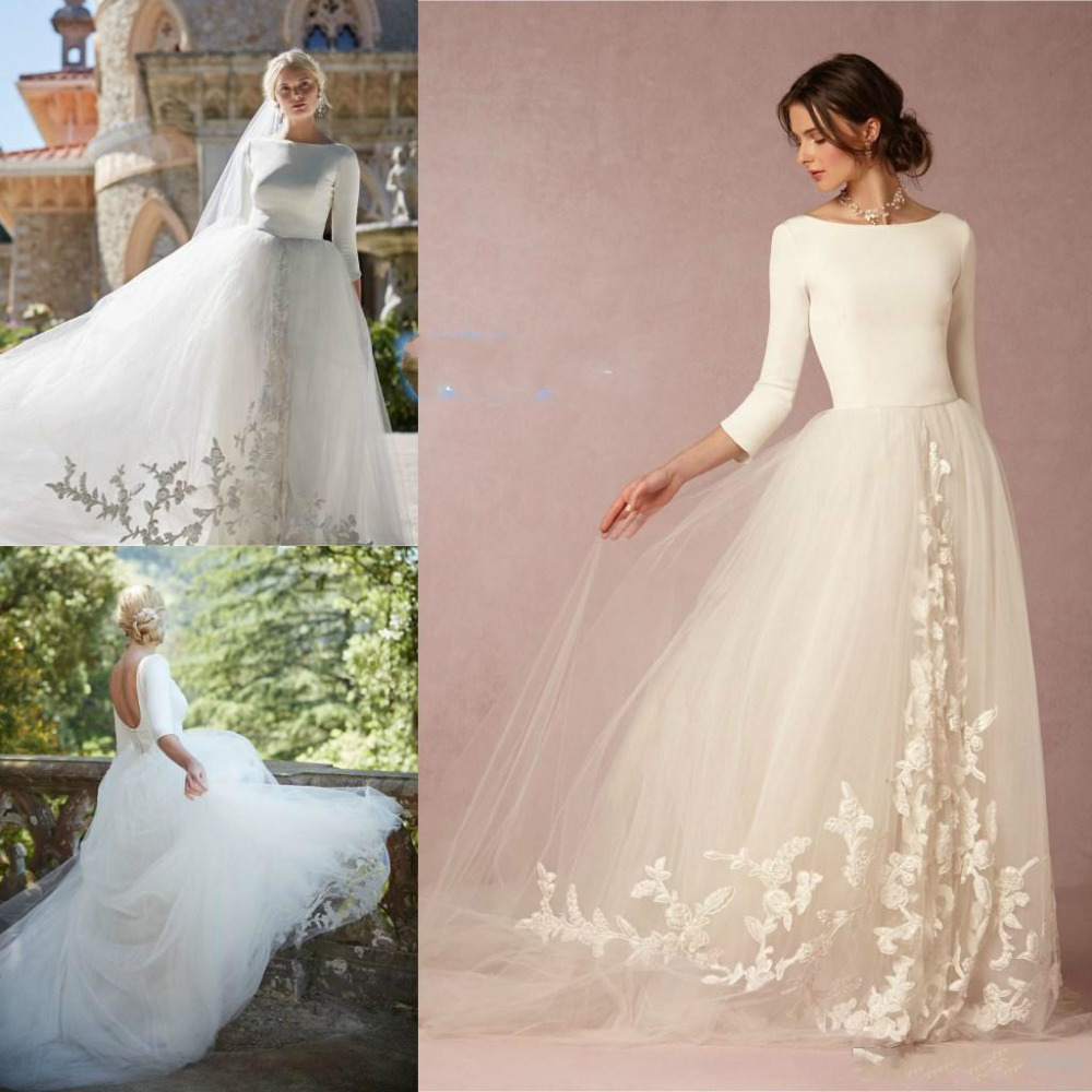 Simple Generous Tulle Garden Wedding Dresses 3 4 Sleeves