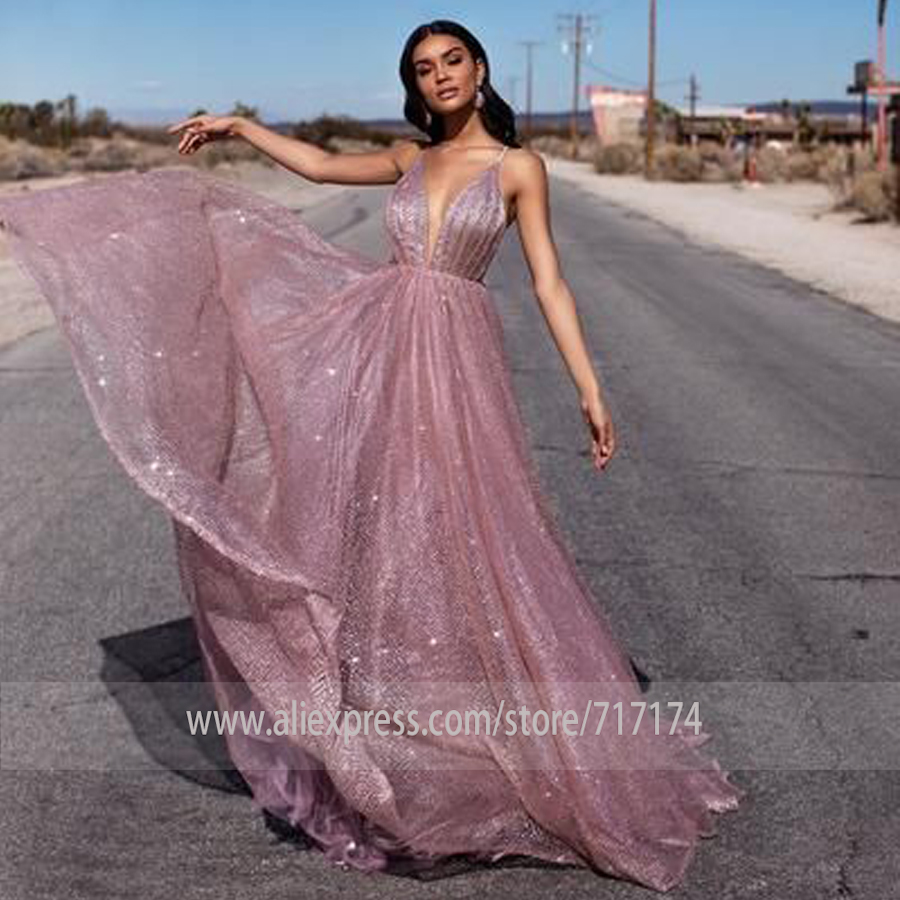 Sexy Deep V-neck Bling Bling Tulle Prom Dress Backless Long Bridal Party Dress  Formal Evening Dress Summer Beer Festival gown(China)