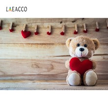 Laeacco Baby Toys Teddy Bear Heart Clamp Wooden Boards Party Portrait Photo Backgrounds Backdrops Photocall Studio