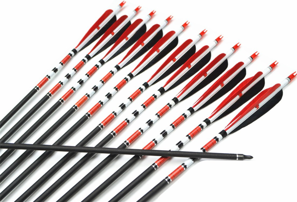 12pcs 31 Spine 500 Red and Black Turkey Feather Target Practice Archery Mix Carbon Arrows for